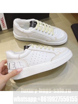 Chanel Calfskin Sneakers G36295 White/Yellow Spring/Summer 2021 Collection