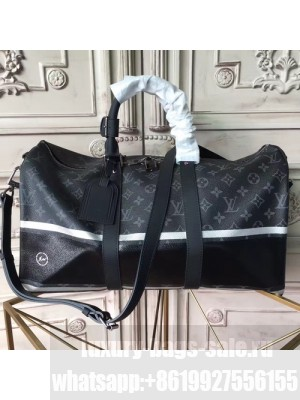 Louis Vuitton Keepall 45 Bandouliere Duffle Bag Monogram Eclipse Flash Canvas Fall/Winter 2017 Collection M43413, Graphite