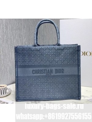 Dior Book Tote Bag in Embroidered Canvas Cannage Baby Blue 2020