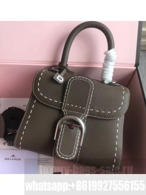 Delvaux Brillant Small Tote Bag In Togo Leather Elephant Gray