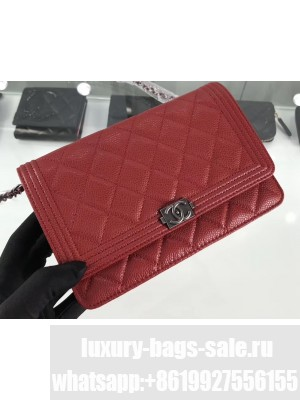 Chanel Grained Leather Boy Wallet On Chain WOC Bag A80287 Red/Silver
