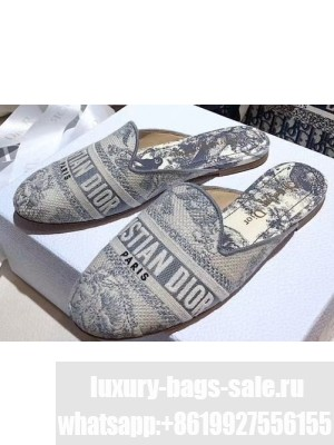 Dior Off Mules Toile de Jouy Embroidered Gray 2020