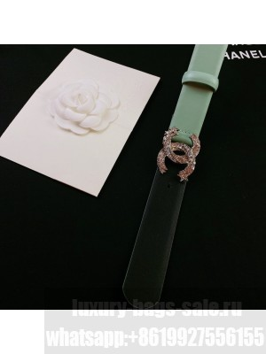 Chanel Calfskin Belt 3cm with Star CC Buckle Green  2021 Collection