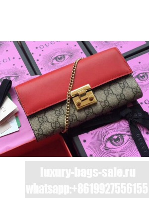 Gucci Padlock GG Canvas and Calfskin Continental Chain Wallet 453506 Red