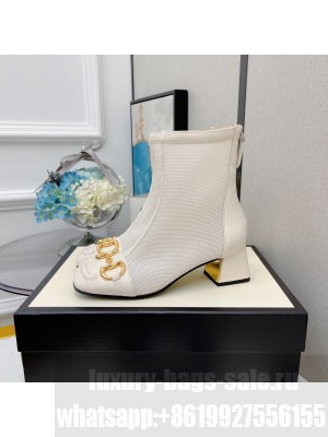 Gucci Women's White GG Horsebit Mesh Heel 5.5  Ankle Boot 2021 Collection