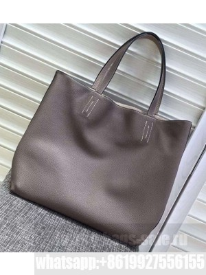 Hermes Double Sens Shopping Tote Bag In Original Togo Leather Grey/Apricot