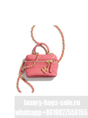 chanel small vanity with chain AP2194 pink