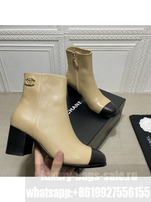 Chanel Calfskin Wooden Thick Boot Beige 2021 Collection