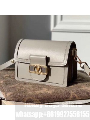 Louis Vuitton Dauphine Mini Smooth Leather Shoulder Bag M55837 Grey 2020 Collection