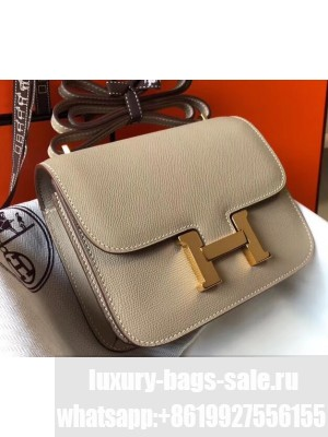 Hermes Constance Mini/MM Bag in Epsom Leather Light Gray with Gold Hardware