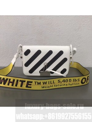 Off-White Saffiano Leather Diag Binder Clip Bag White 2018 Collection