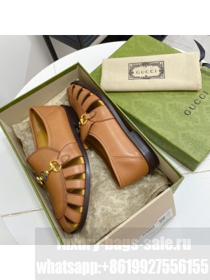GUCCI Calfskin Cut out Loafers Brown 2021 Collection