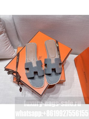 Hermes Oran Flat slippers with Lizard pattern Gray 069 2021 Collection