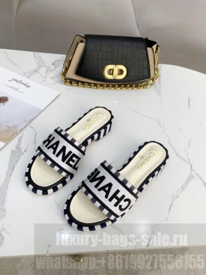 Chanel logo slippers in Canvas with leather 30mm Spring/Summer 2021 Collection White/Black