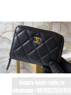 Chanel Classic Small Zipped Coin Purse 69272 Lambskin Black/Gold