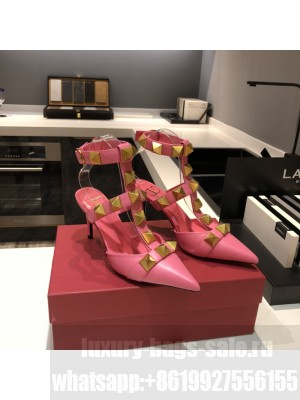 Valentino Garavani Roman Stud 80mm pump with straps embellished with maxi studs pink 2021 Collection