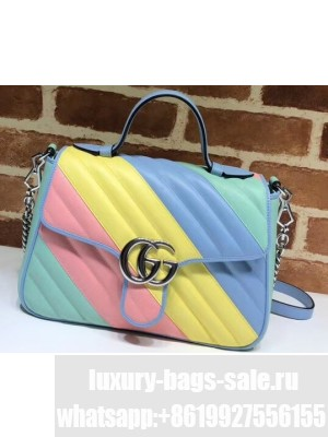 Gucci Leather GG Marmont Small Top Handle Bag 498110 Multicolored Pastel 2020