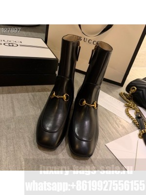 Gucci Crystal Embellished Jordaan Ankle Boots Calfskin Leather Fall/Winter 2020 Collection, Black