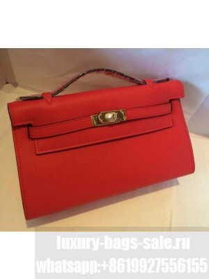HERMES KELLY 22 EPSOM LEATHER CLUTCH BAG IN RED