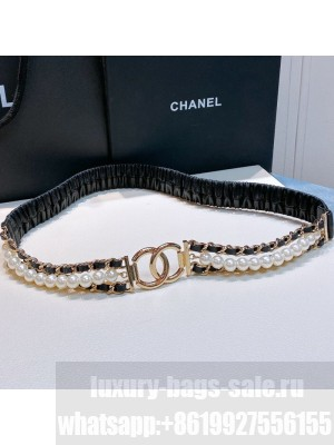 Chanel Pearl Lambskin Pleated Chain Belt AA7481 Black  2021 Collection