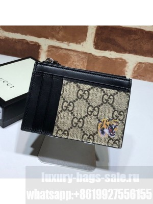 Gucci GG Canvas Leather Tiger Card Case 597555 2019 Collection