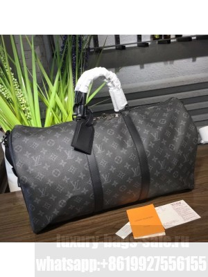 Louis Vuitton Keepall 50 Bandouliere Duffle Bag Monogram Eclipse Canvas Fall/Winter 2017 Collection M40568, Black