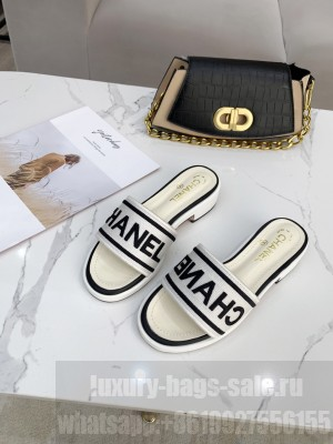 Chanel logo slippers in Canvas with leather 30mm Spring/Summer 2021 Collection White