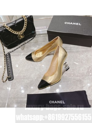 Chanel Women's Crystal heel Wedge Pumps Gold  2021 Collection