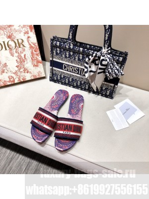 CHRISTIAN DIOR DWAY SLIDE Embroidered Cotton 2020 08