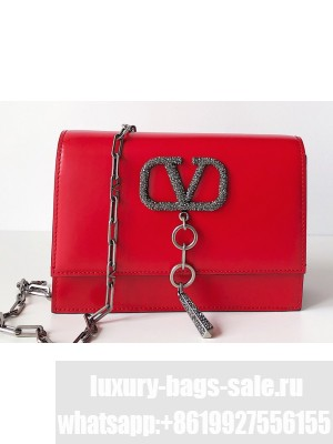 Valentino Crystals Logo Small VCASE Bag in Smooth Calfskin Red 2020