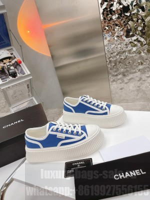 Chanel Canvas Platform Sneakers Blue 2021 Collection