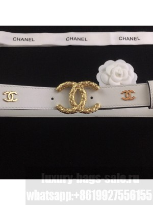 Chanel Calfskin Belt 3cm with Metallic CC Buckle White  2021 Collection