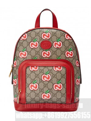 Gucci Small backpack with GG Apple print Red