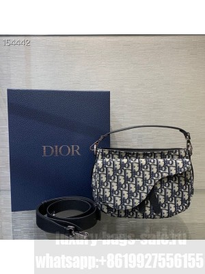 Christian Dior Shouder Bag 24cm Oblique Embroidered Canvas Fall/Winter 2020 Collection, Blue
