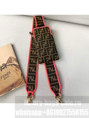 Fendi Strap You Canvas FF Shoulder Strap with iPhone Pocket Pink  2021 Collection