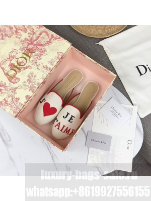 Dior Off Mules Red Embroidered Cotton 2021 Collection 08