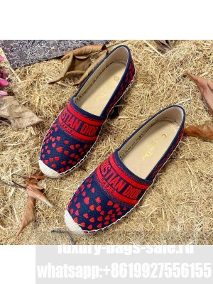 Dior Granville Espadrilles In Navy Blue and Red Hearts I Love Paris Embroidered Cotton 2021