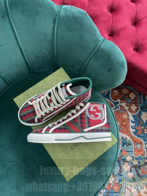 Gucci Unisex Tennis 1977 GG Multicolor high-top Red Sneaker 2021 Collection