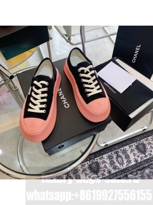 Chanel Canvas 5cm Platform Sneakers Pink/Black 2021 Collection