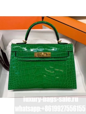 Hermes Mini Kelly II Handbag in Glossy Real Alligator Leather Bright Green (Handmade) Collection