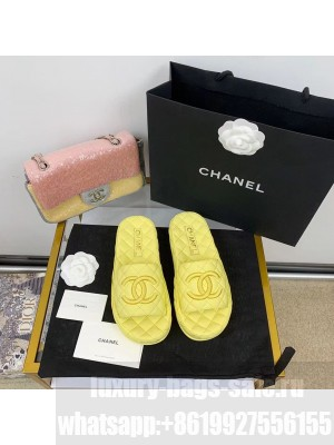 Chanel Quilted Slide On Mule Sandals Lambskin Leather Spring/Summer 2021 Collection,  Yellow