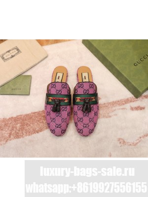 Gucci GG Multicolor Canvas Slipper with Tassels Pink 2021 Collection