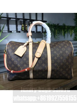 Louis Vuitton Keepall 45 Bandouliere Duffle Bag Monogram Canvas Fall/Winter 2017 Collection M41418, Beige