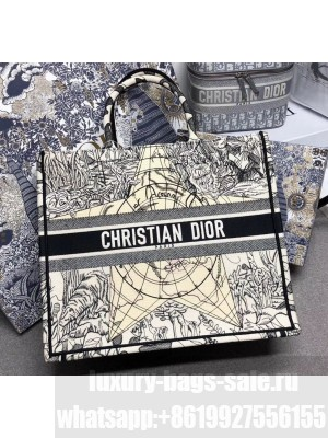 Dior Large Book Tote with Star Embroidery White/Black 2020 Collection