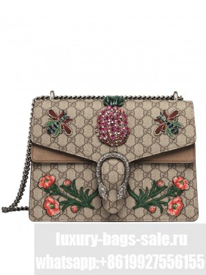 Gucci Dionysus Embroidered Shoulder Bag 403348 Coffee