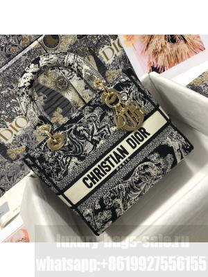 Dior Medium Lady D-Lite Bag in Blue Toile de Jouy Reverse Embroidery  2021 Collection