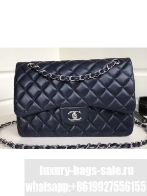 Chanel Classic Flap Jumbo/Large Bag A1113 Navy Blue in Sheepskin Leather with Silver Hardware