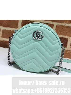 Gucci Leather GG Marmont Mini Round Shoulder Bag 550154 Pastel Green 2020