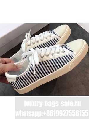 Celine Blank Low Lace Up Sneakers in Canvas and Calfskin Stripe Black 2020
