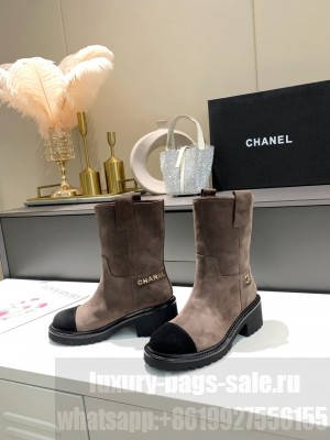 Chanel Suede 5cm Gray Ankle Boots 2021 Collectione